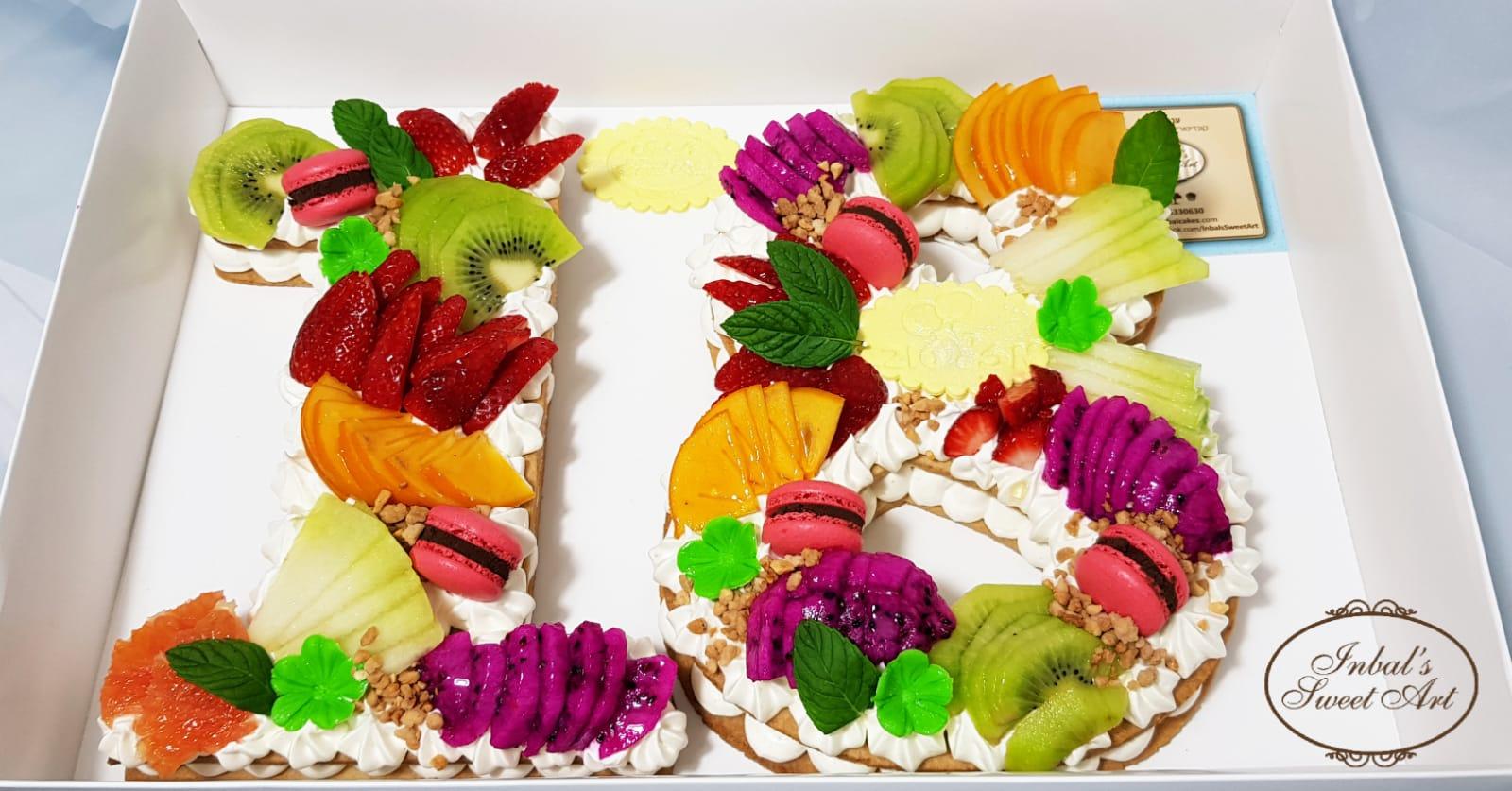 עוגת מספרים עם פירות